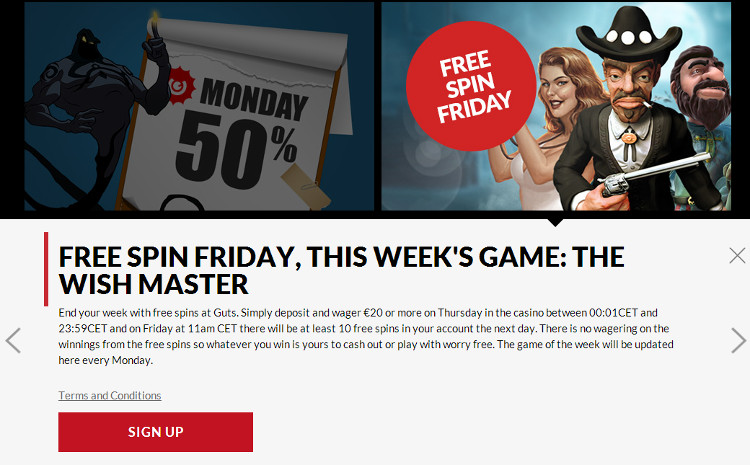 Guts.com Free Spin Friday 10 Free Spins on The Wish Master