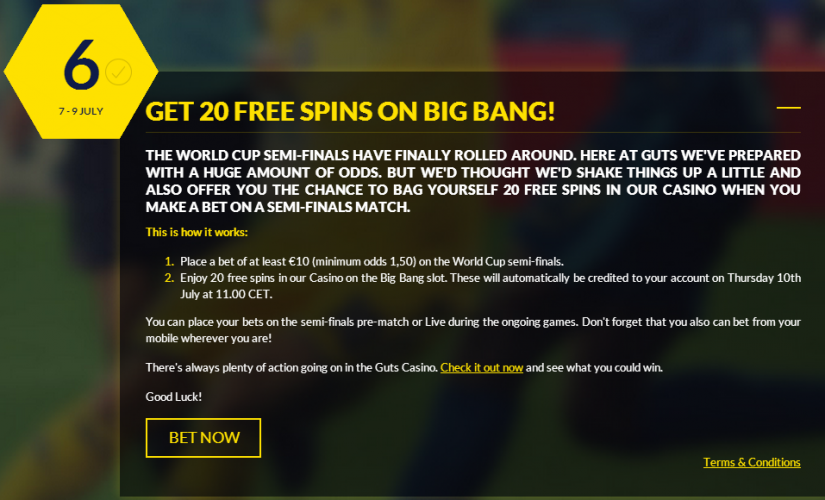 Guts.com 20 Free spins on Big Bang slots - World Cup 2014