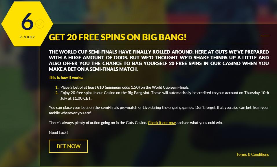 Guts.com 20 Free spins on Big Bang slots - World Cup 2014