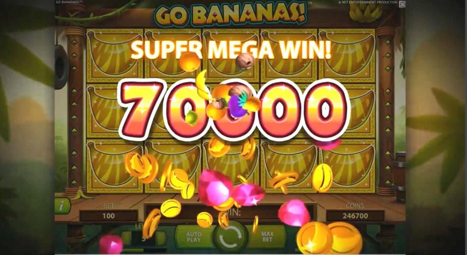 Go Bananas NetEnt slots super mega win