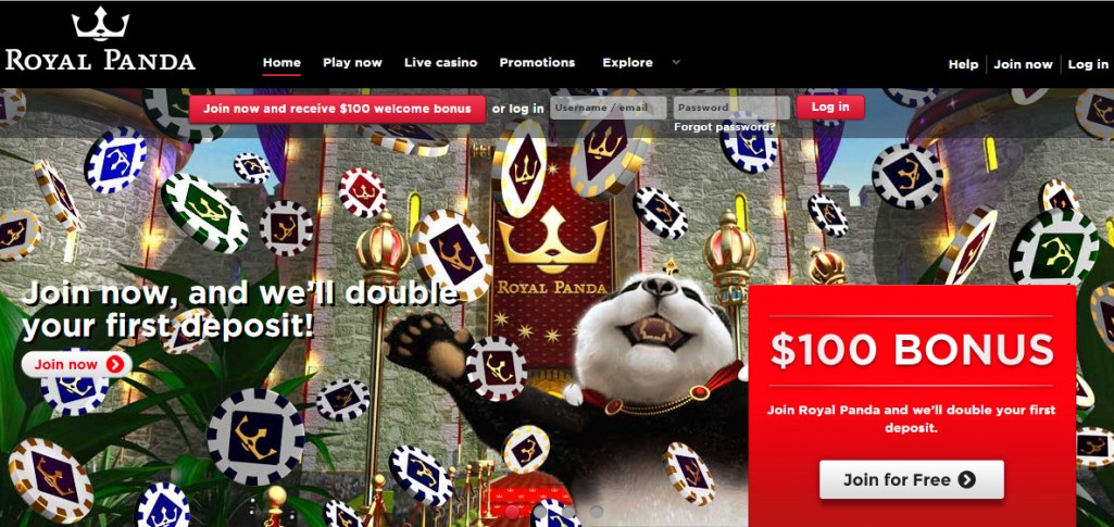 Royal Panda Casino Homepage